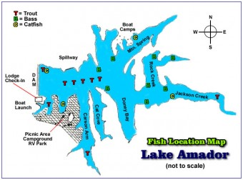 Lake Amador Fishing Location Map